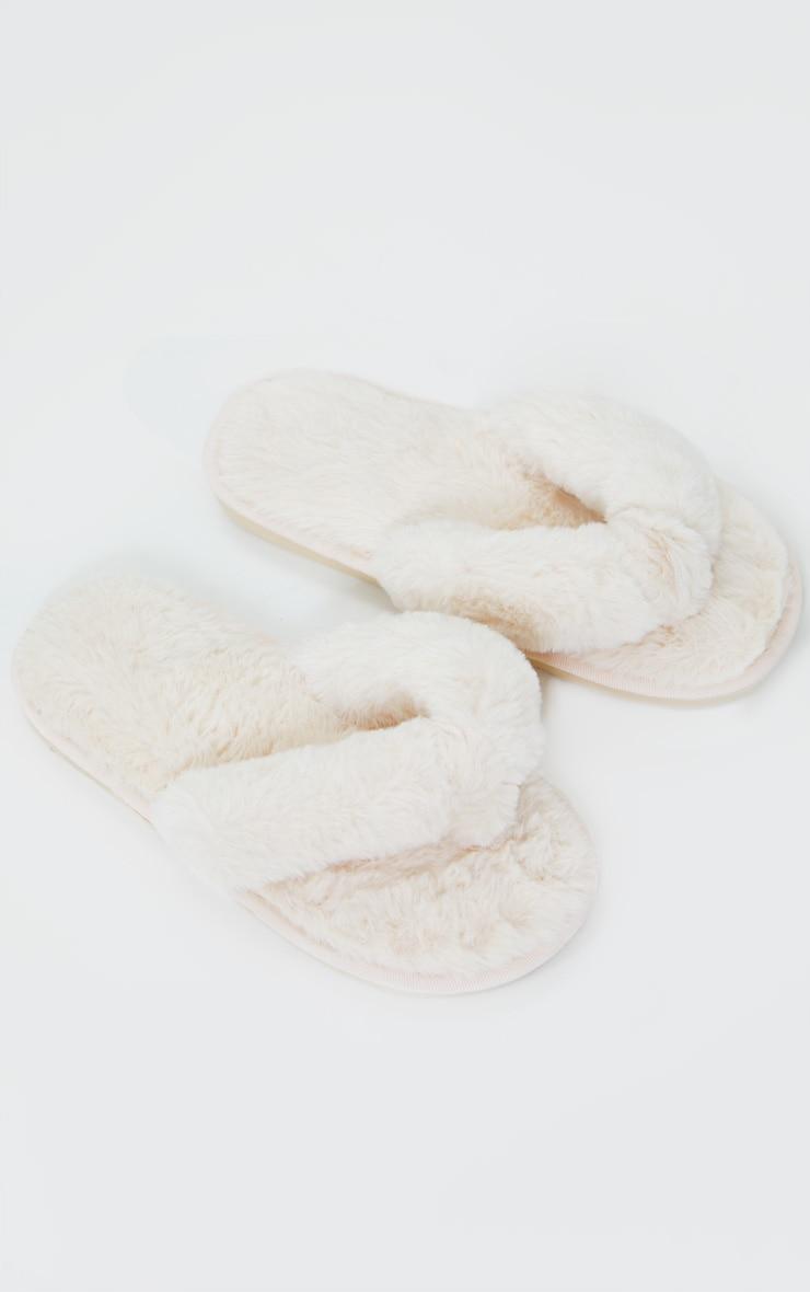 Cream Fluffy Flip Flop Slippers 1