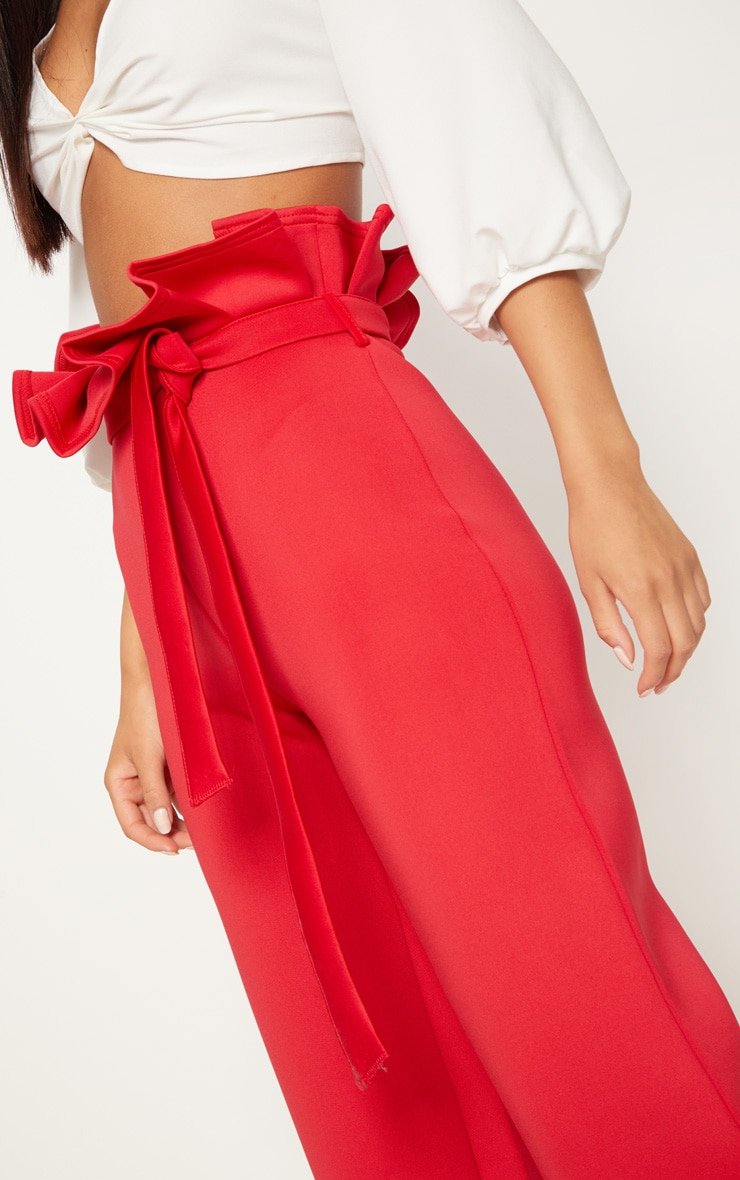Red Scuba Extreme Paperbag Wide Leg Trouser 5