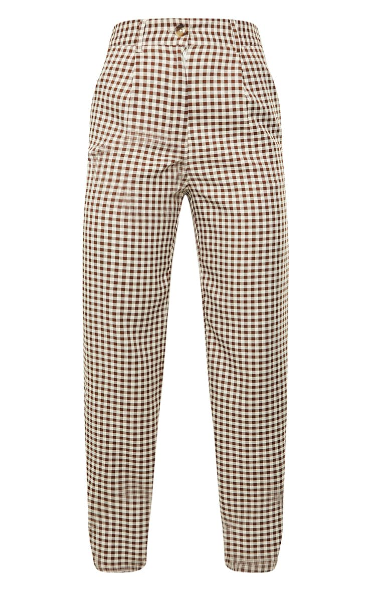 Brown Check Woven Straight Leg Pants 5
