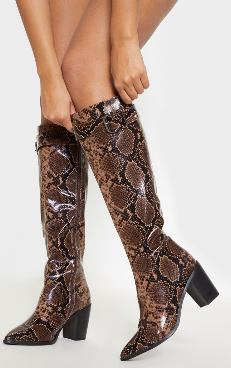 Snake Western Block Heel Calf Boot 2