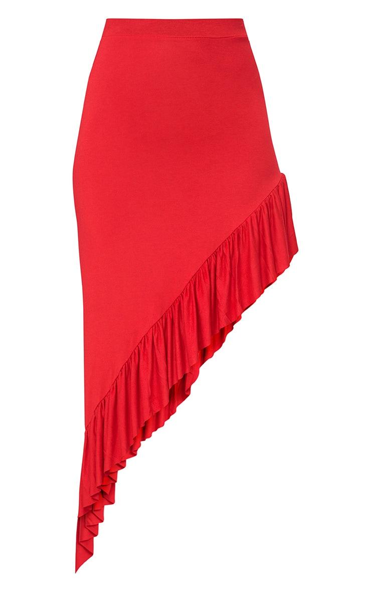 Red High Low Frill Hem Maxi Skirt 3
