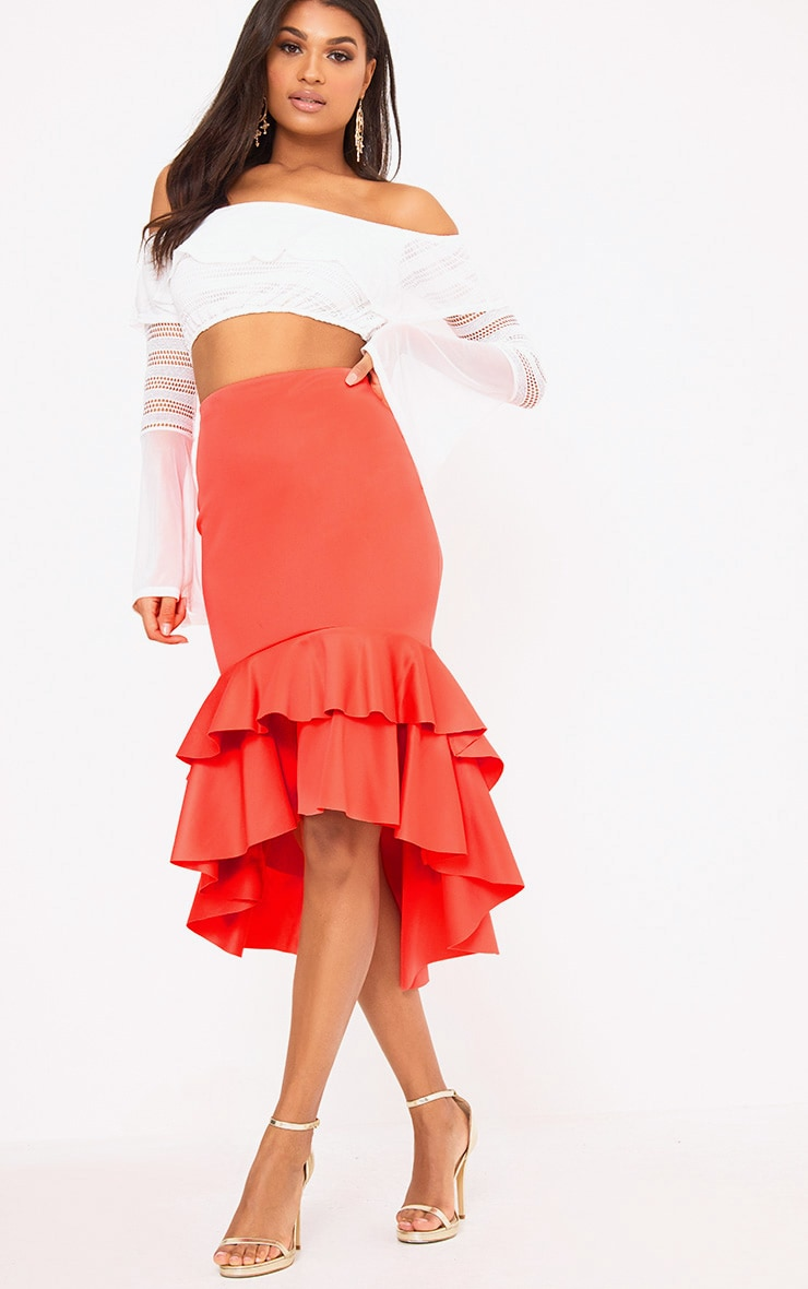 Coral Hi Lo Frill Hem Midi Skirt 1