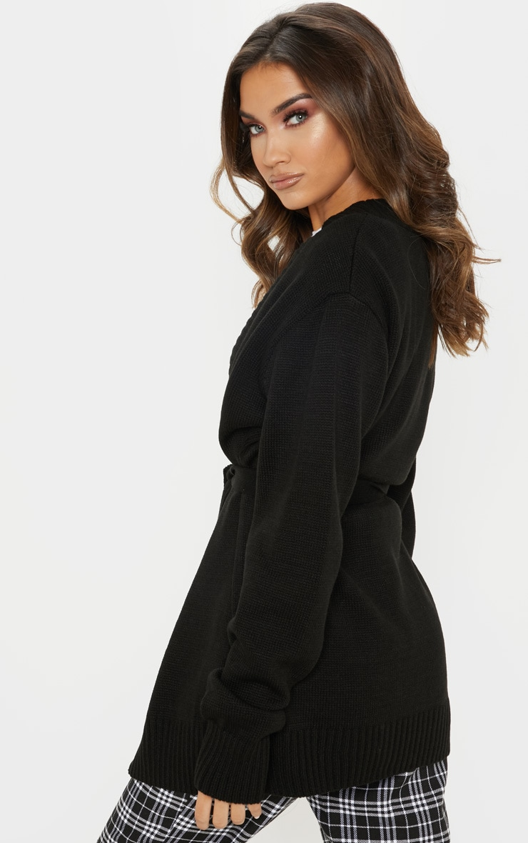 Black  Belted Knitted Cardigan 2