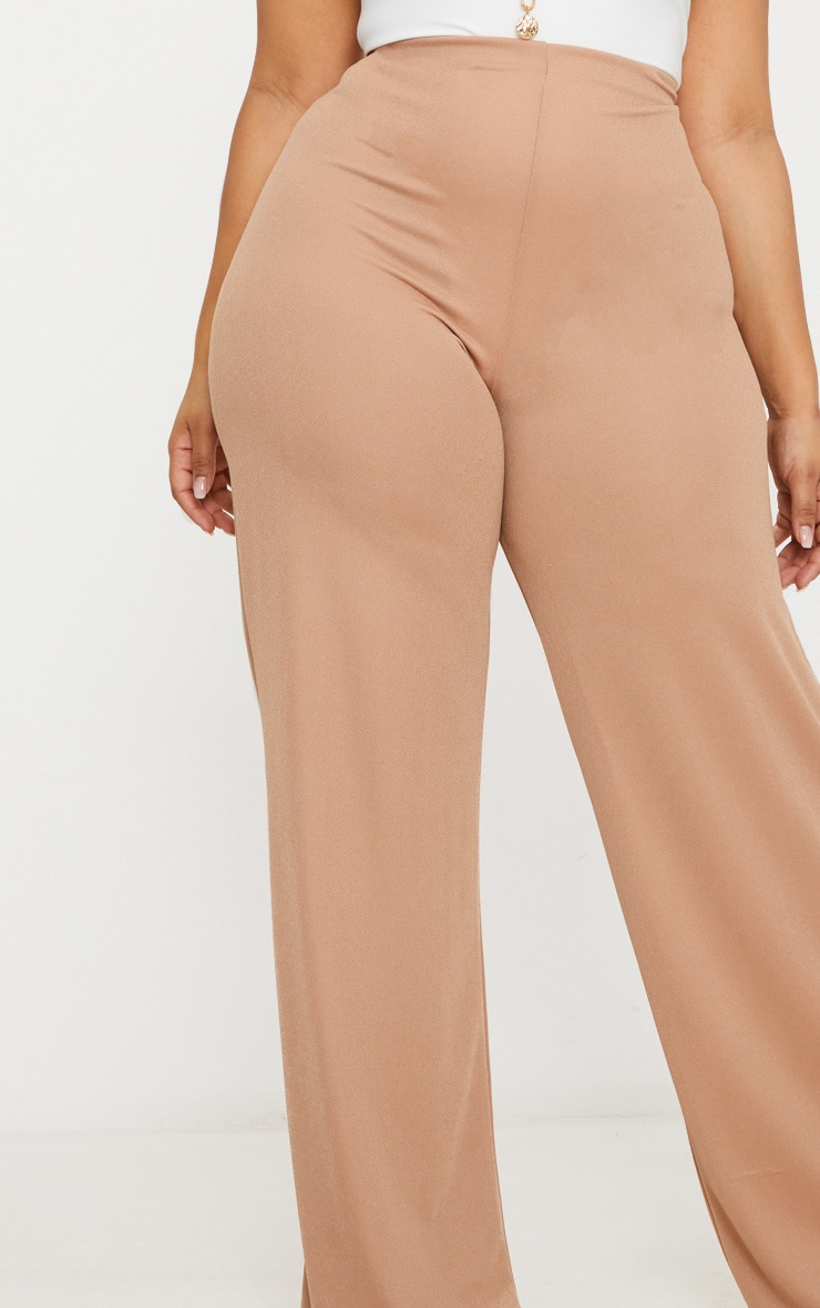 Plus Camel High Waisted Wide Leg Trousers 5