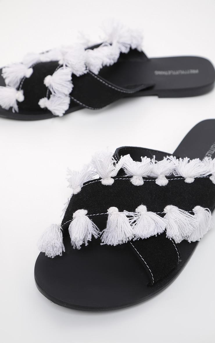 Black Cross Strap Tassel Mule Sandal 3