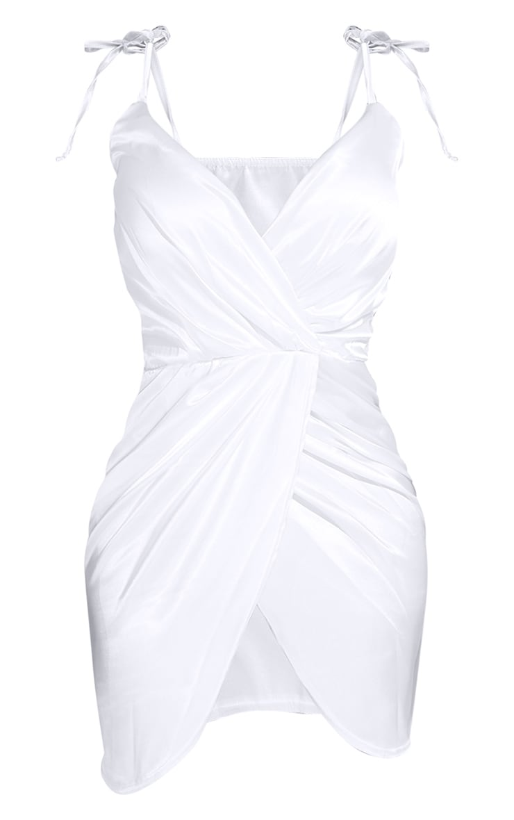 Shape White Satin Tie Shoulder Wrap Bodycon Dress 5