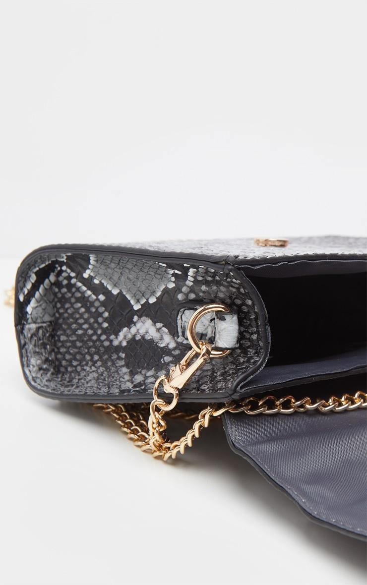Grey Snake PU Envelope Mini Cross Body Bag 4