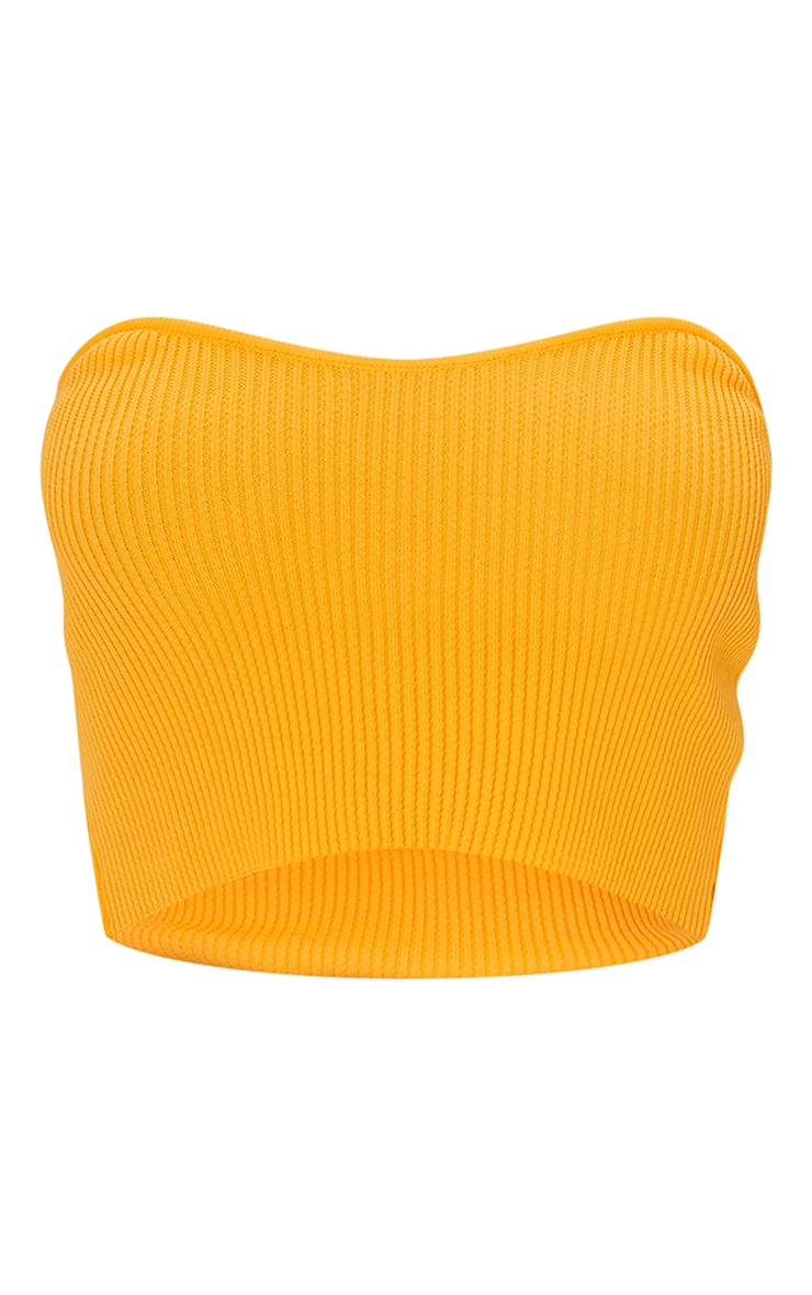 Orange Knitted Ribbed Bandeau Top 5
