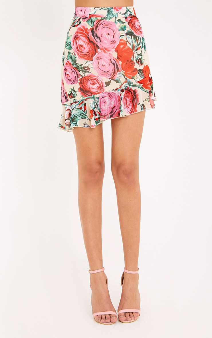 Ezra Cream Floral Frill Hem Mini Skirt  2