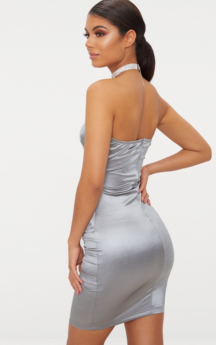 Silver Bandeau Ruched Satin Bodycon Dress 2