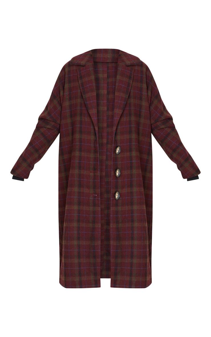 Burgundy Boyfriend Oversized Midi Coat 3