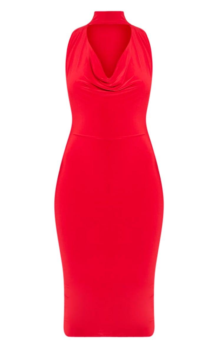 Nayasha Red Slinky Choker Wrap Midi Dress 3