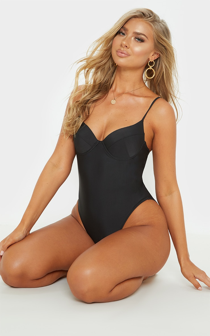 Black Basic Cupped Swimsuit 6