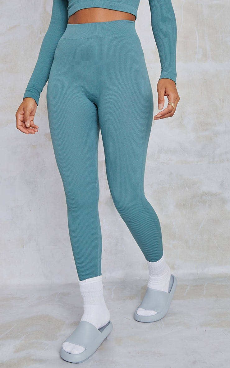 Teal Structured Contour Ribbed Leggings 2