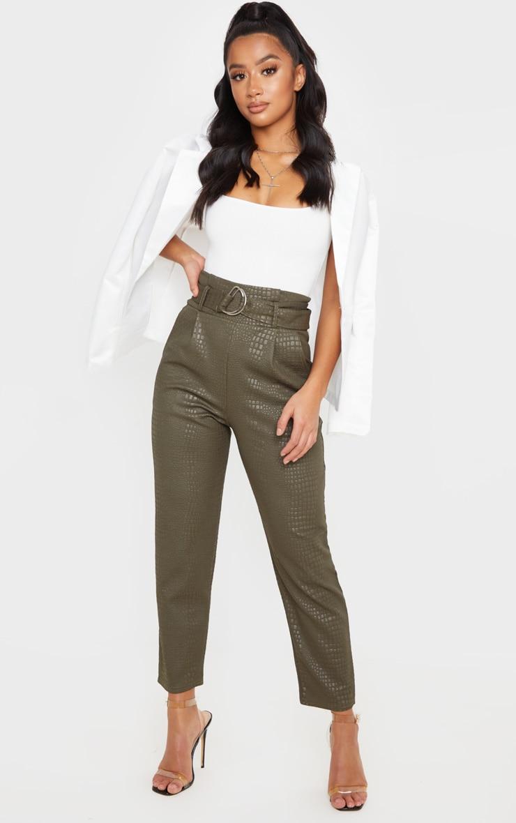 Petite - Pantalon skinny kaki effet croco à ceinture à boucle en D 1