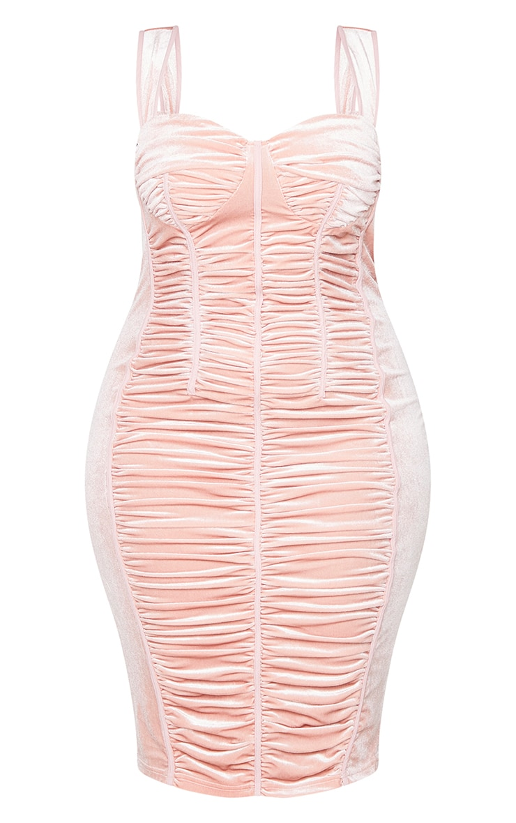 Plus Dusty Pink Velvet Ruched Detail Midi Dress 5