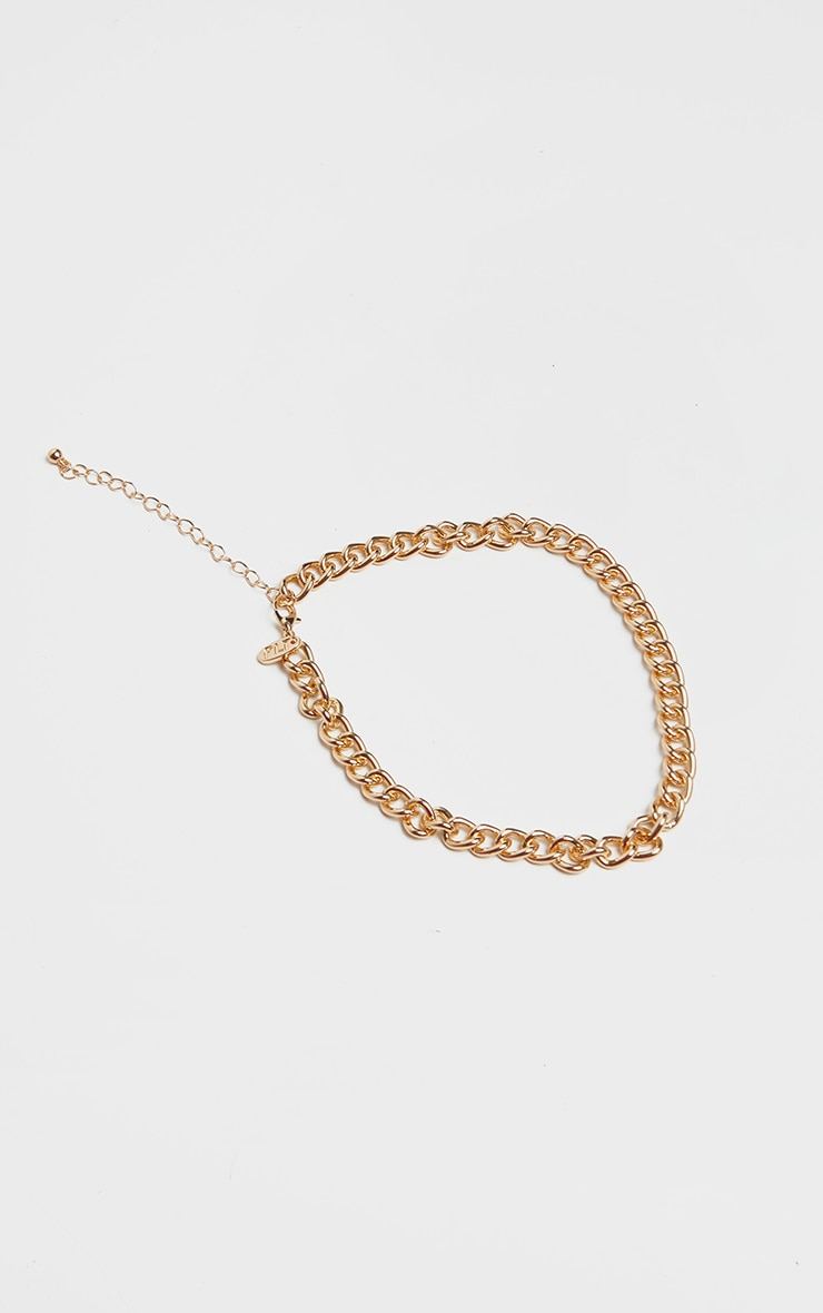 Gold Simple Link Chain Choker 3