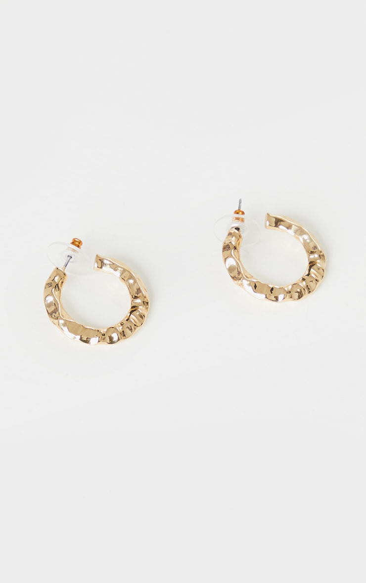 Gold Small Hammered Hoop Earrings 2