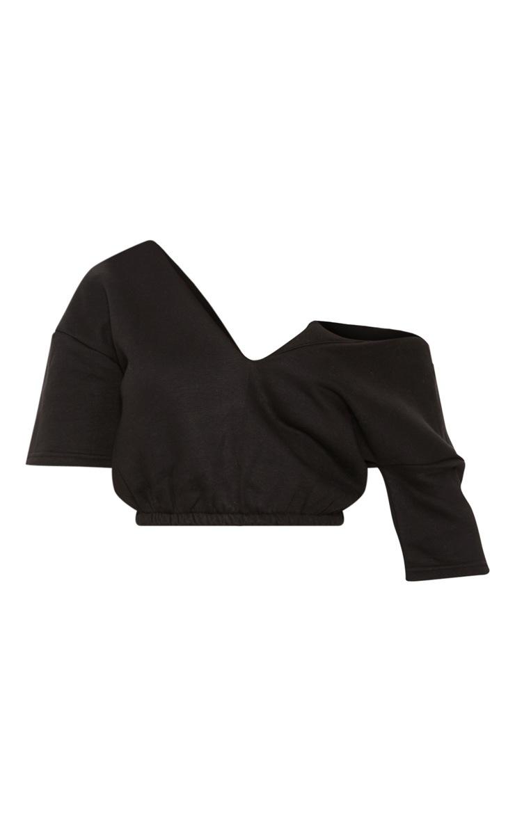 Black Crop Off Shoulder Short Sleeve Sweater  3