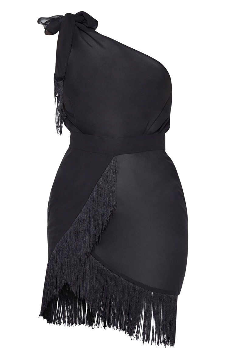 Black Asymmetric Fringe Beach Dress 3