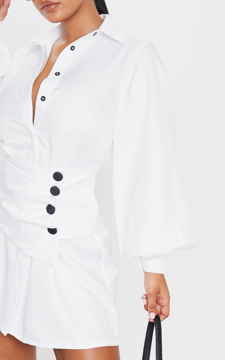 White Button Waist Detail Shirt Dress 5