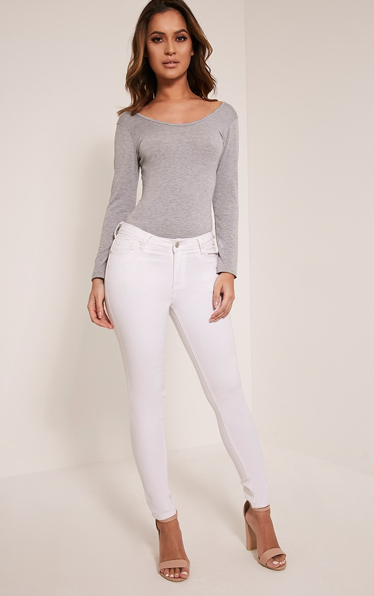Basic Grey Scoop Neck Bodysuit 4