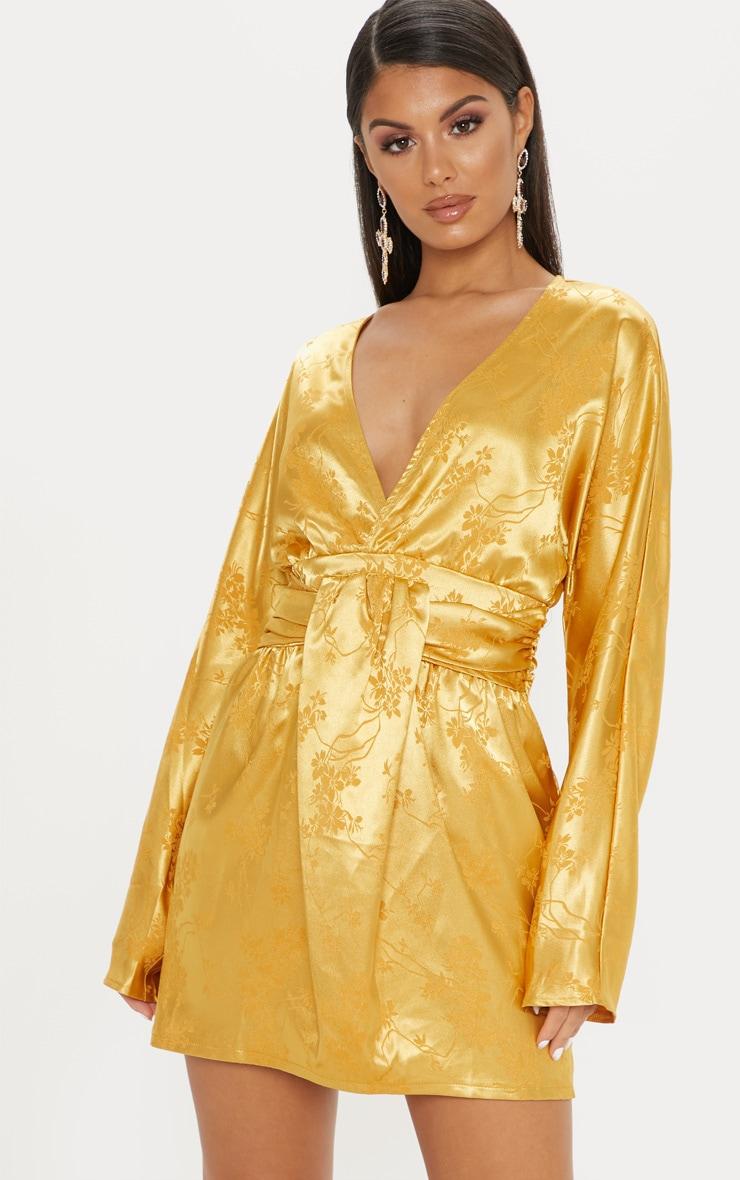 Gold Satin Oriental Drape Bodycon Dress