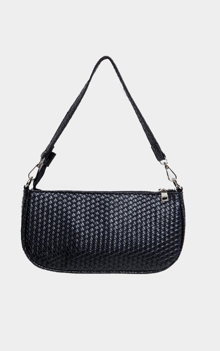 Black Woven Shoulder Bag 1