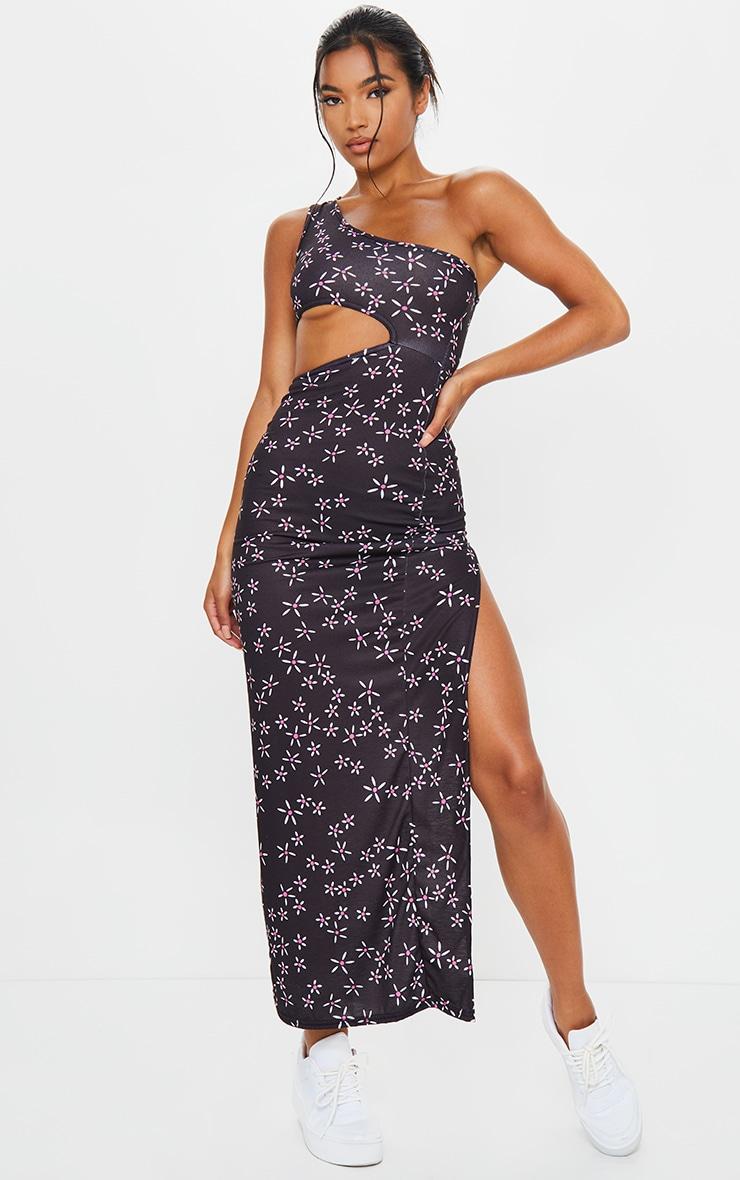 Black Ditsy Floral One Shoulder Split Midaxi Dress 1