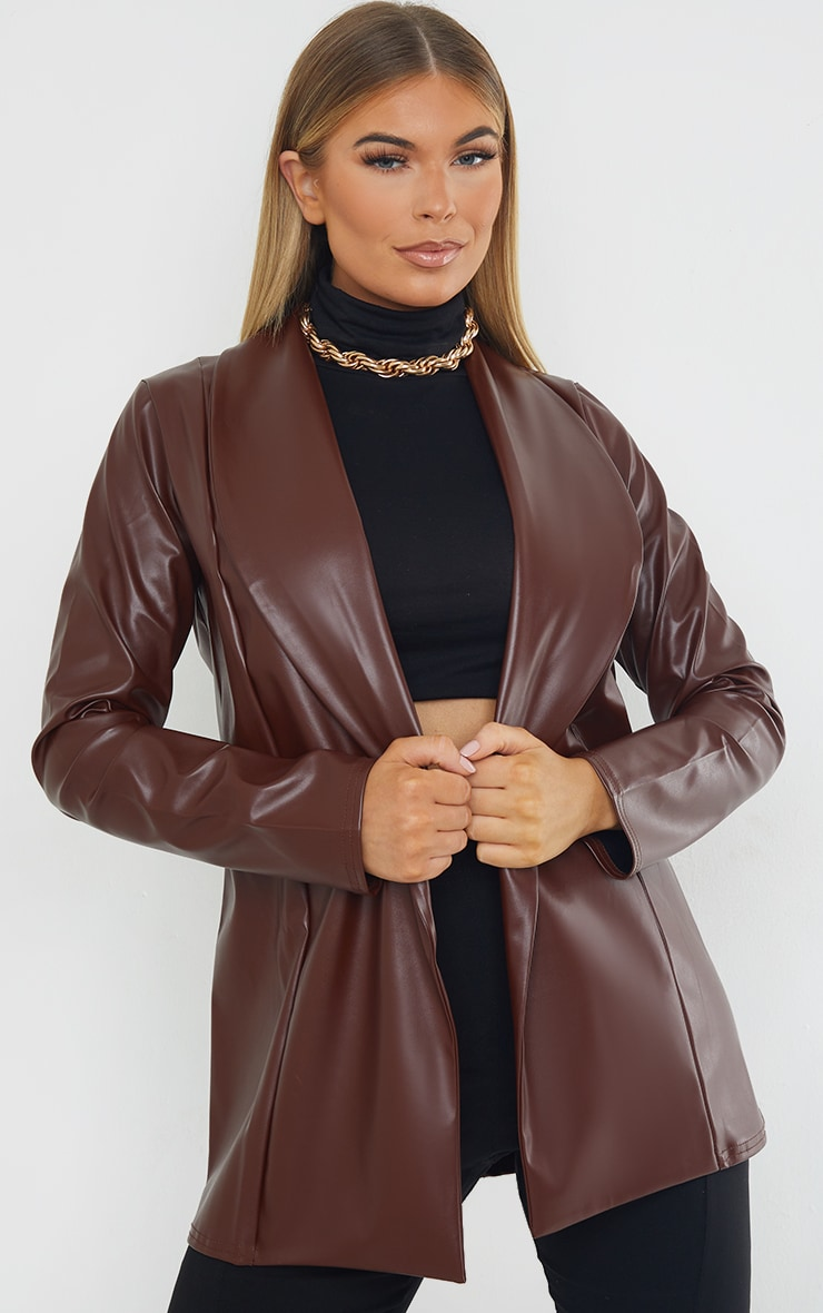Chocolate Drop Collar Faux Leather Blazer image 1