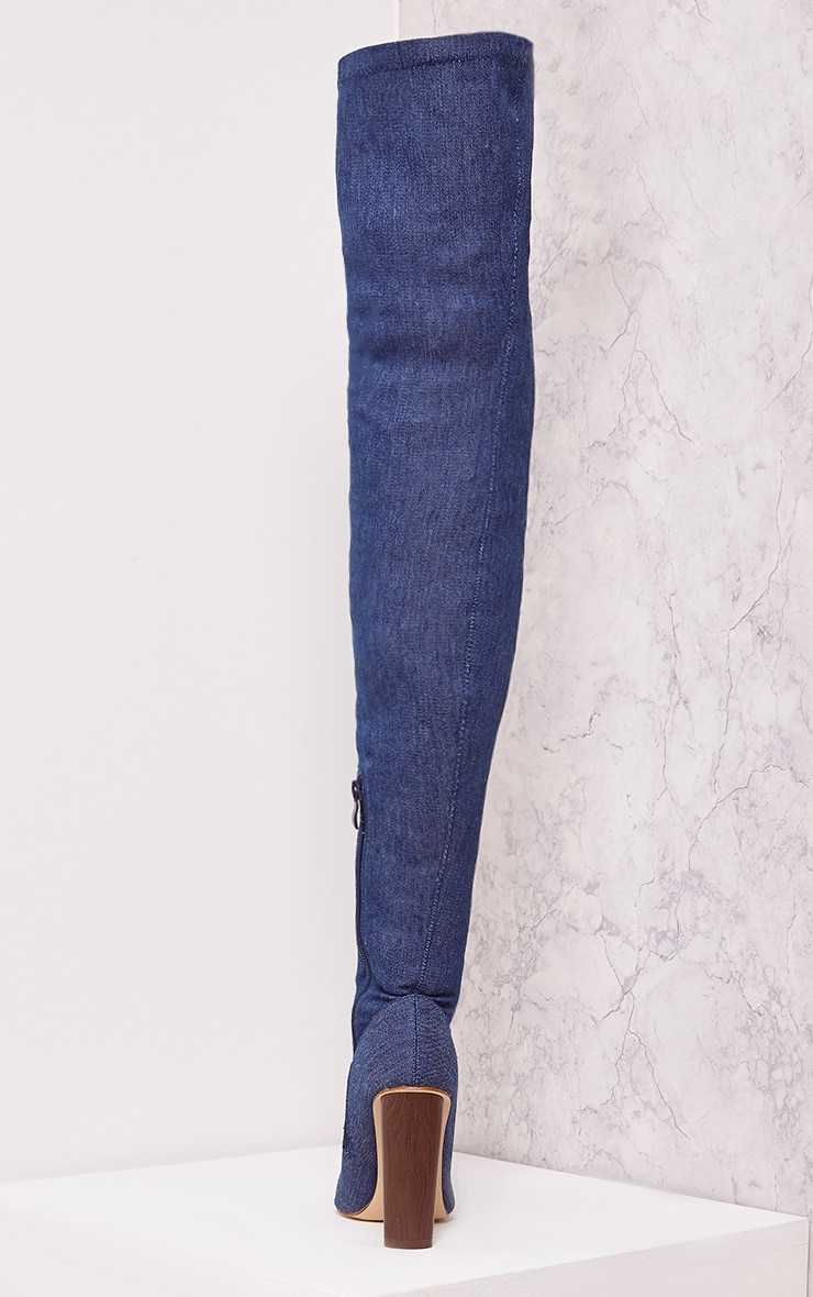 Alycia Over The Knee Denim Boots 4