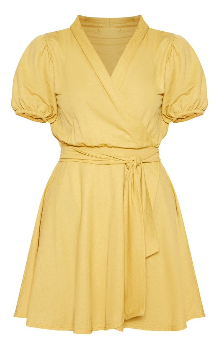 Mustard Puff Sleeve Waist Tie Skater Dress 4