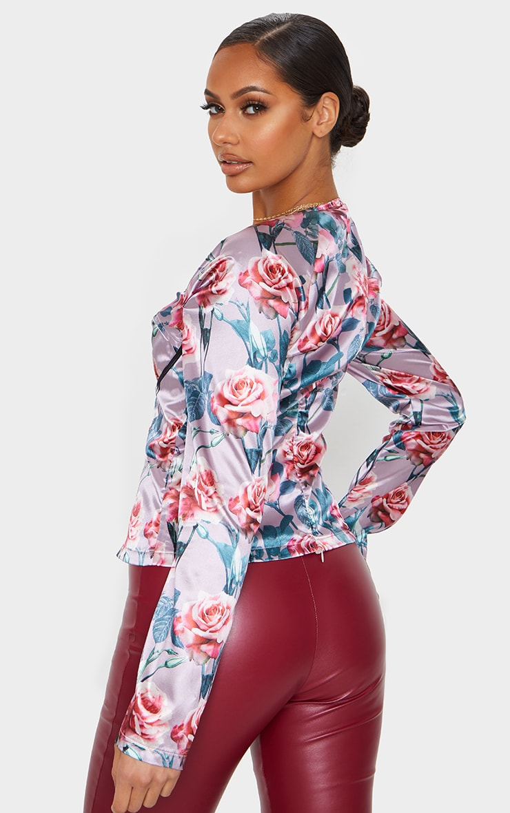 Dusty Rose Floral Print Satin Corset Long Top 2