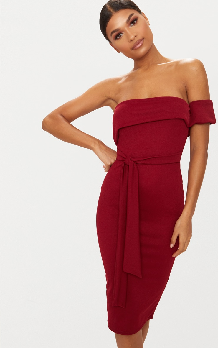 Burgundy One Shoulder Bardot Tie Detail Midi Dress 1