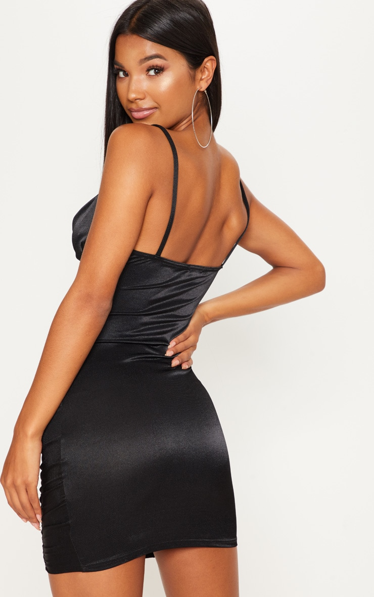 Black Satin Ruched Bodycon Dress 2
