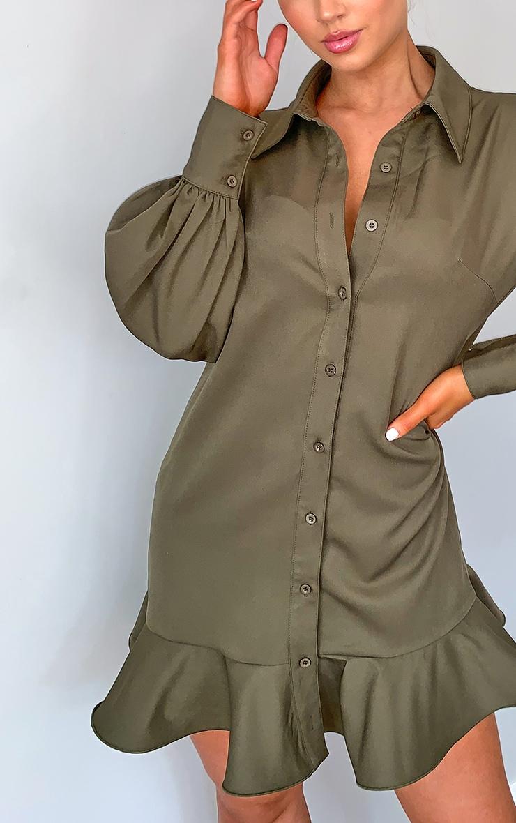 Khaki Frill Hem Shirt Dress 4