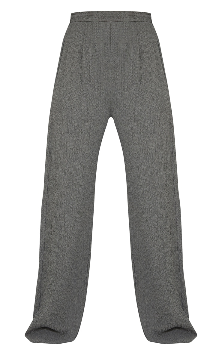 Grey Textured Crinkle Wide Leg Trousers 5