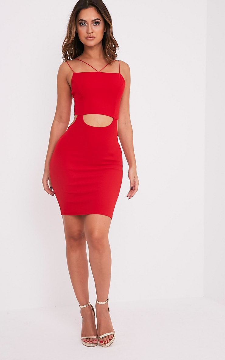 Haylea Red Strappy Cut Out Bodycon Dress 5