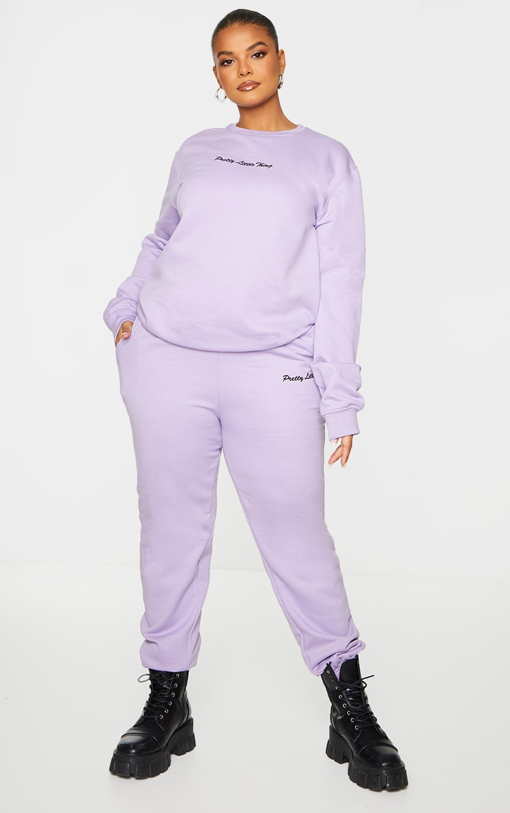 PRETTYLITTLETHING Plus Lilac  Embroidered Sweater 3