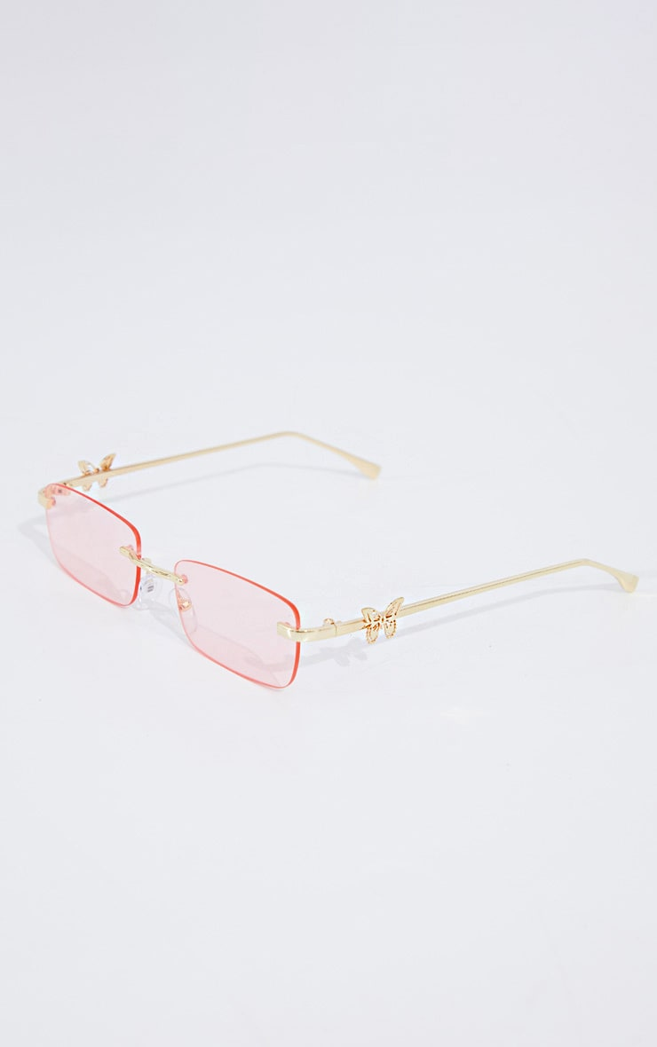 Gold Frame Pink Lens Butterfly Sunglasses 2