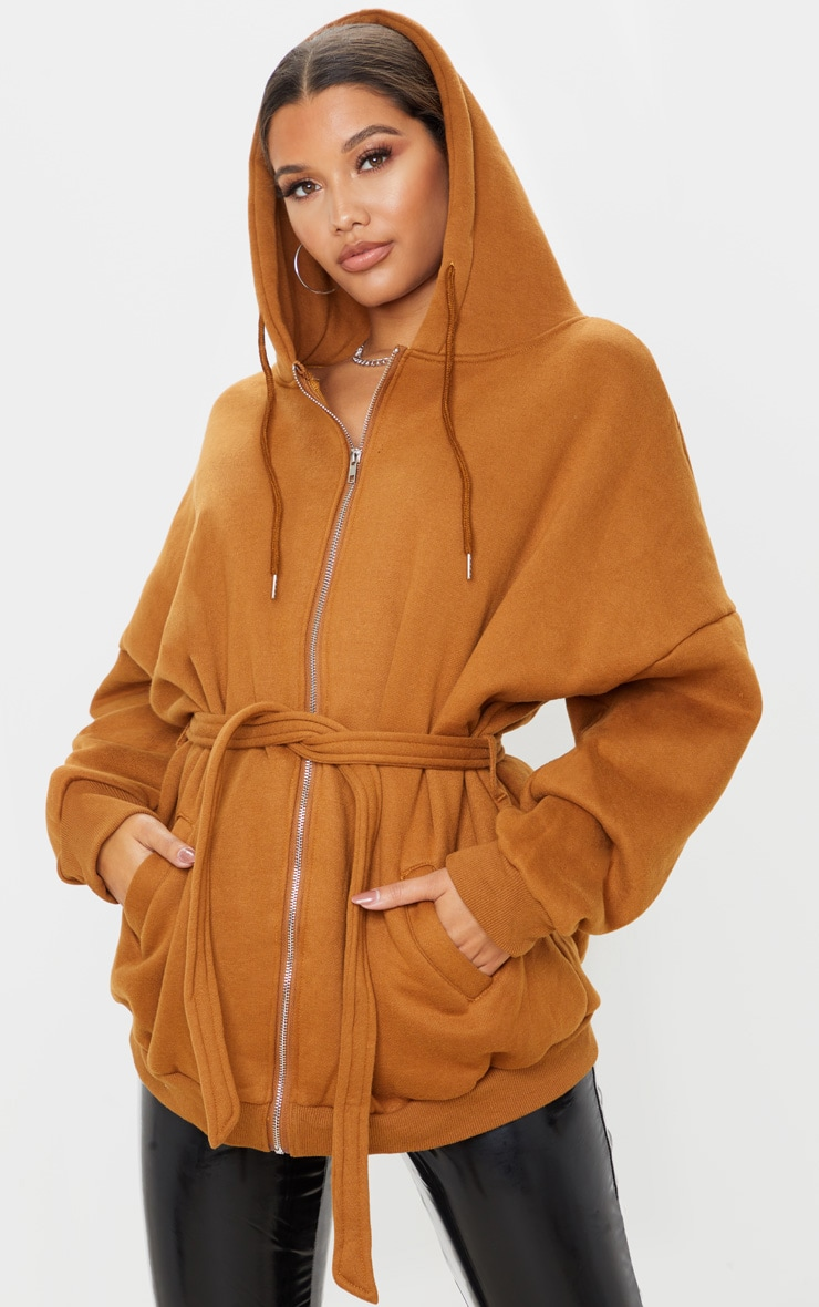 Camel Oversized Belted Sweat Hoodie 2
