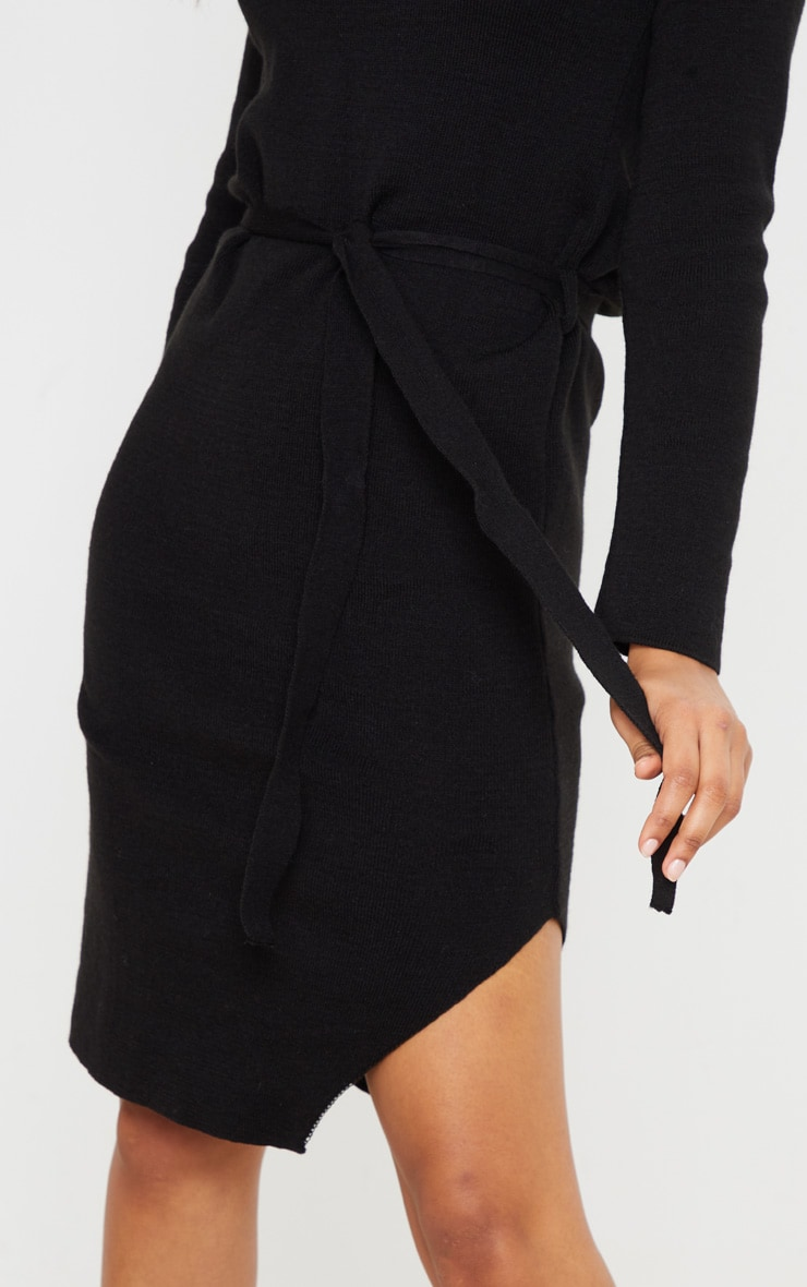 Black Roll Neck Belted Knitted Sweater Dress 4