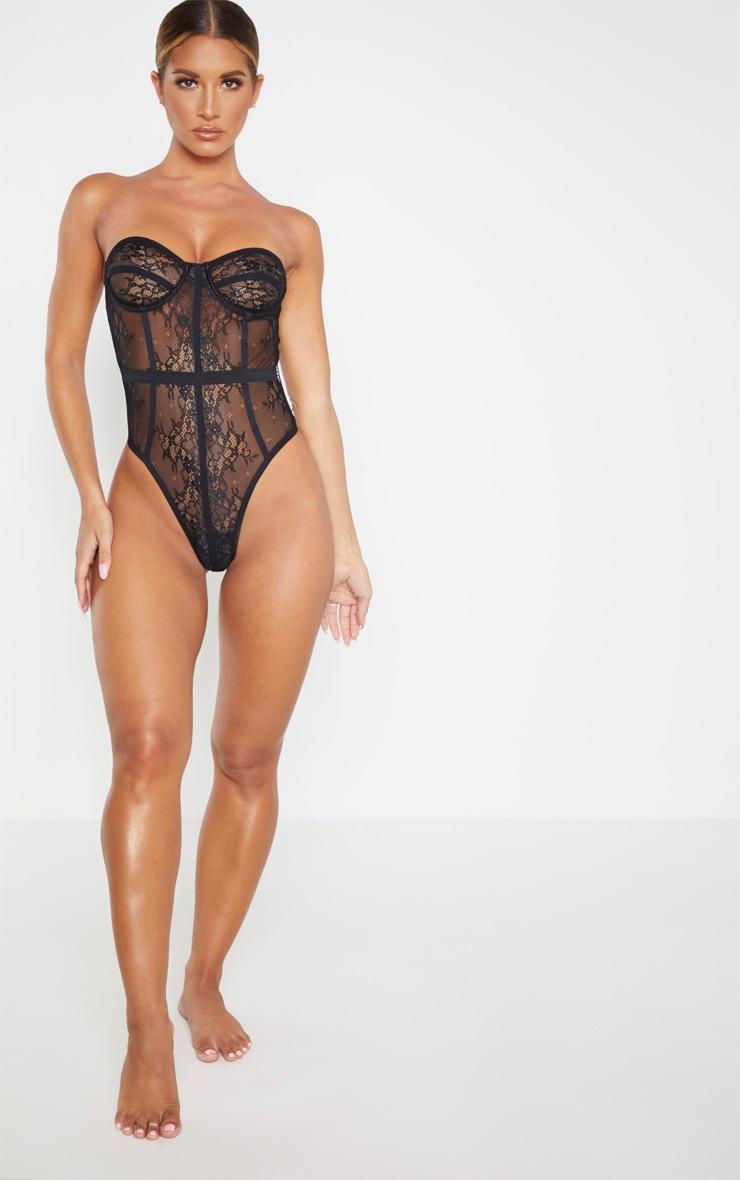Body style corset noir à détail dentelle 5