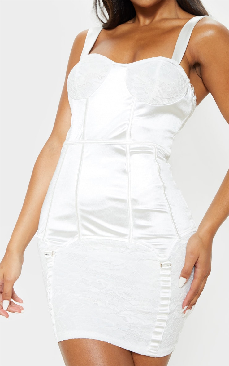 White Satin Lace Insert Suspender Detail Bodycon Dress 4