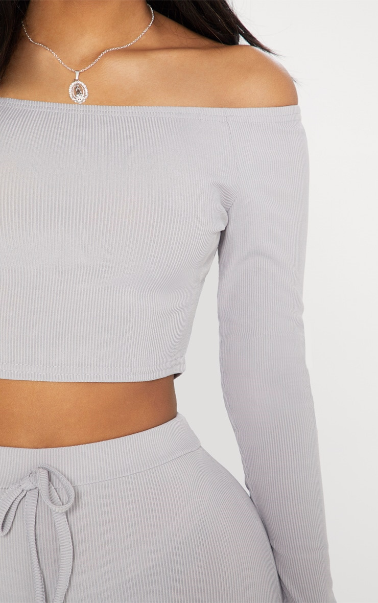 Shape Grey Marl Ribbed Bardot Long Sleeve Crop Top 3