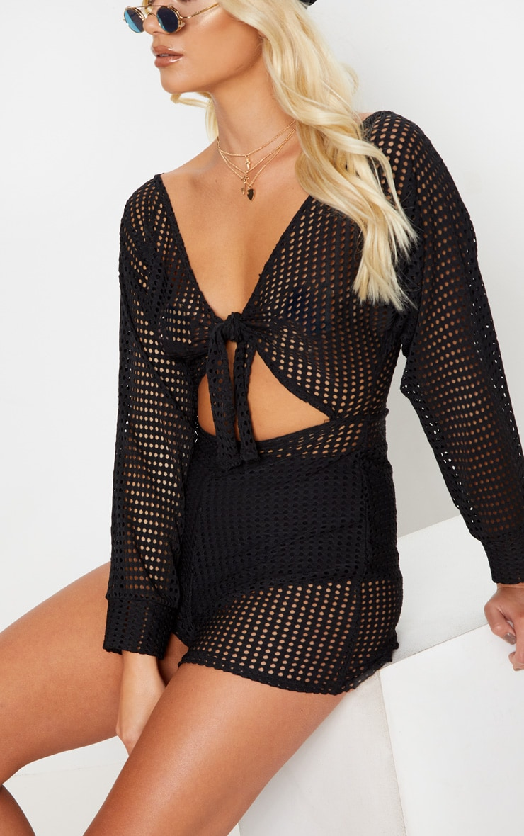 Black Large Fishnet Tie Front Playsuit 5
