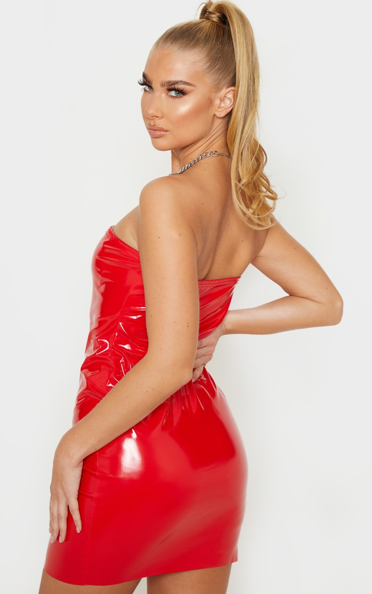 Red PU Bandeau Bodycon Dress 2