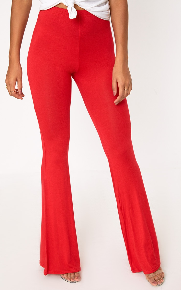 Red Basic Jersey Flared Trousers 5