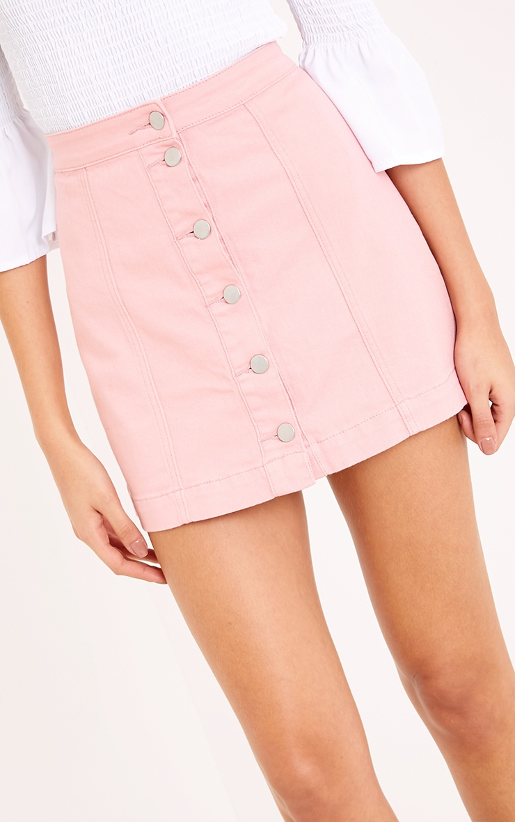 Pink Cammie Denim Mini Skirt 6