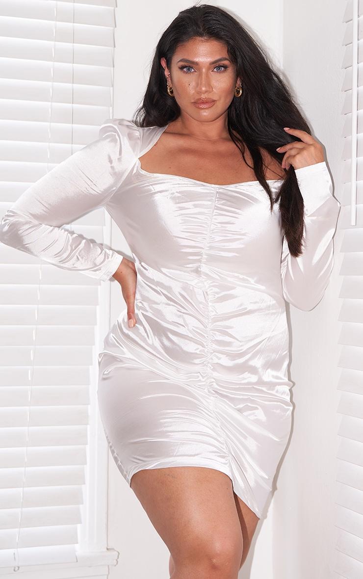 Plus White Satin Ruching Front Bodycon Dress 3